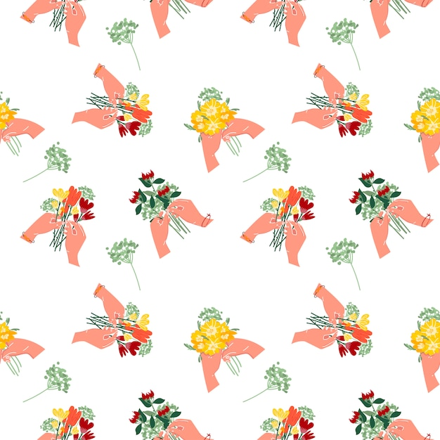 Seamless pattern of a bouquet of flowers in your hands. summer flowers on a white isolated background. Premium Vector