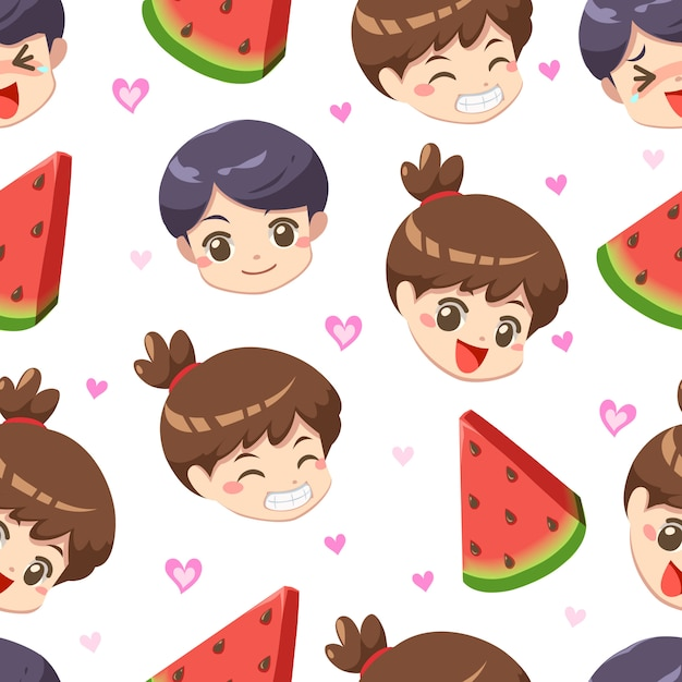 Seamless pattern of boy and girl with watermelon summer – vector Premium Vector