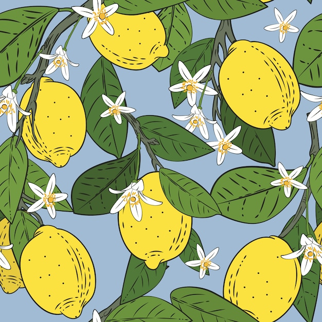 Seamless pattern of branches with lemons Premium Vector