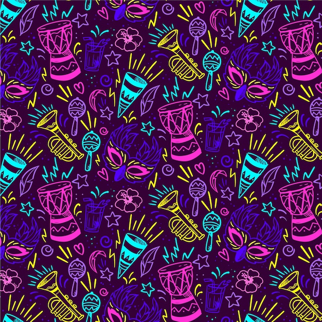 Seamless pattern brazilian carnival in vivid-colours Free Vector