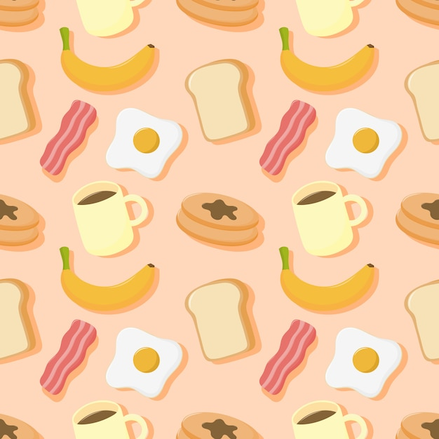 Seamless pattern breakfast. food and drinks isolated on cream background. Premium Vector