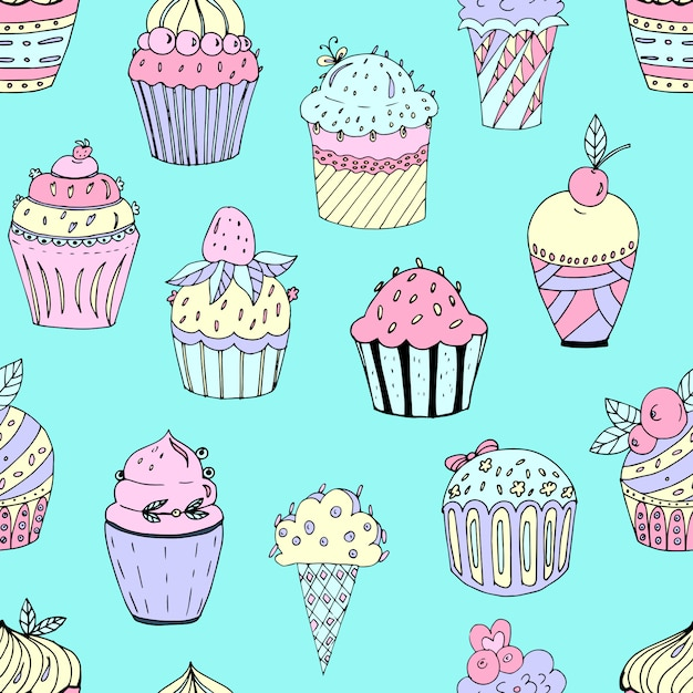 Seamless pattern of cakes of different colors Premium Vector