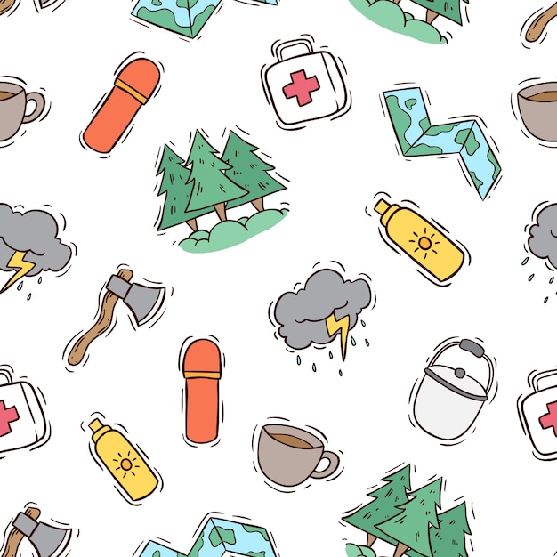 Seamless pattern of camping icons Premium Vector