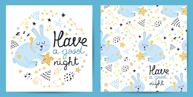 Seamless pattern and card with cute rabbit Premium Vector