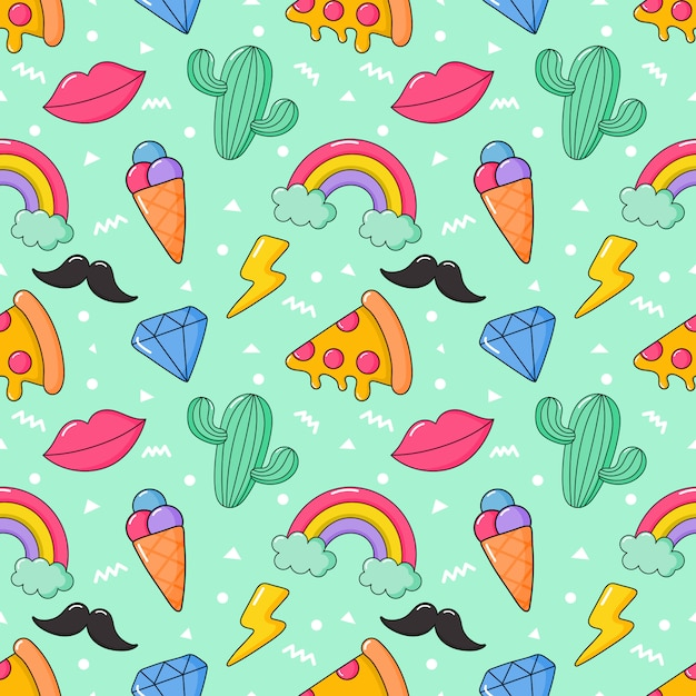 Seamless pattern cartoon 80s, 90s comic style for girls. Premium Vector