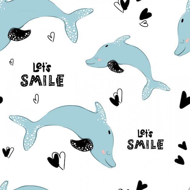 Seamless pattern, cartoon dolphin, lettering Premium Vector