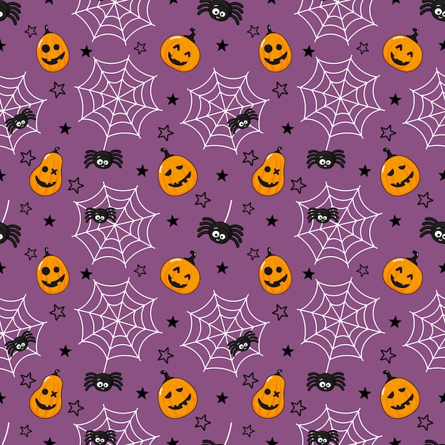 Seamless pattern cartoon happy halloween. spider, cobweb and pumpkin isolated on purple. Premium Vector