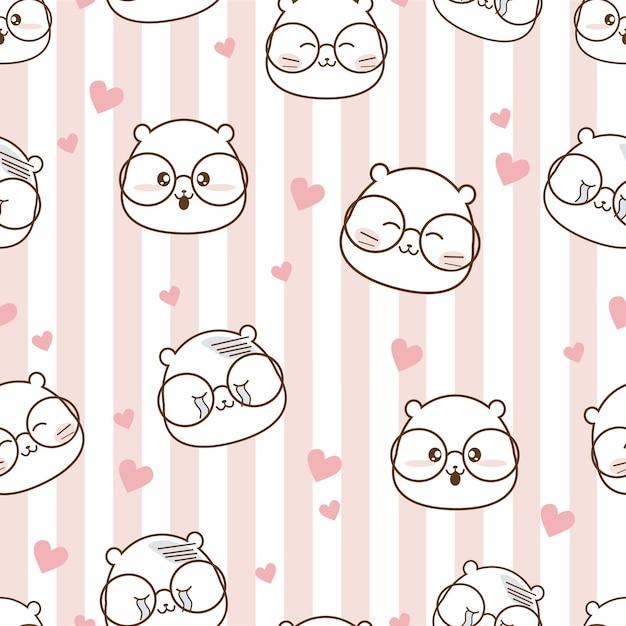 Seamless pattern cartoon in love Premium Vector