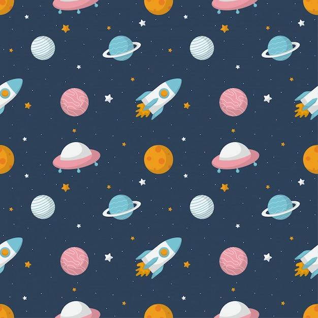 Бесшовные модели мультфильма пространства. планеты, изолированные на синем фоне. Premium векторы