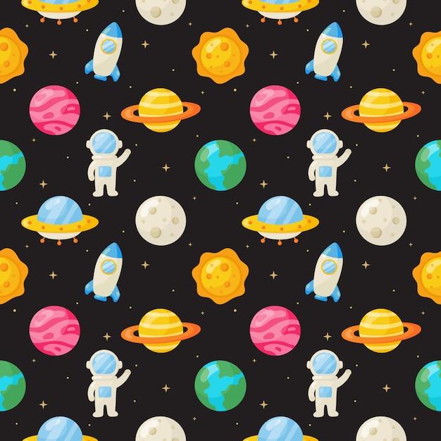 シームレスパターン漫画スペース。分離された惑星 Premiumベクター