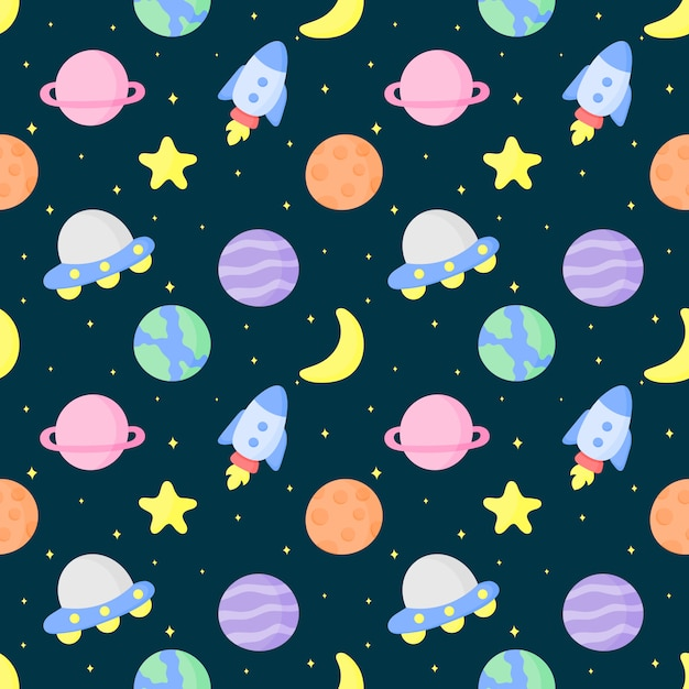 Seamless pattern cartoon space and planets Premium Vector