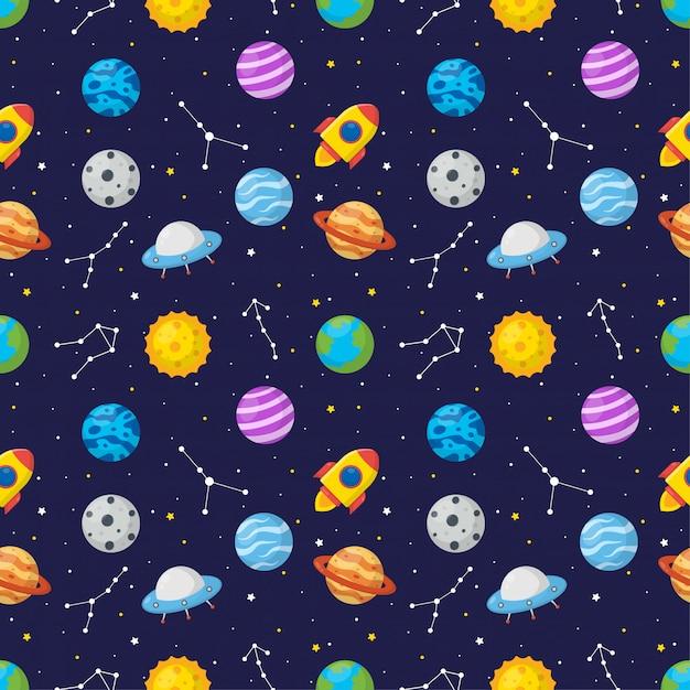 惑星とのシームレスなパターン漫画空間 Premiumベクター