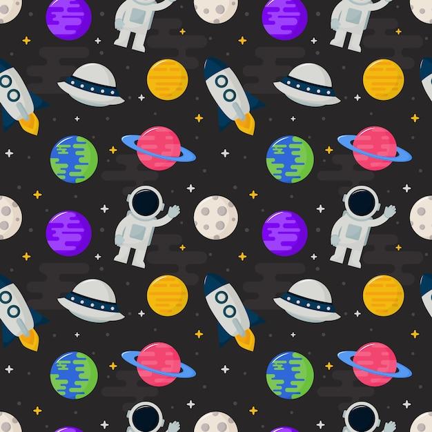 Seamless pattern cartoon space Premium Vector