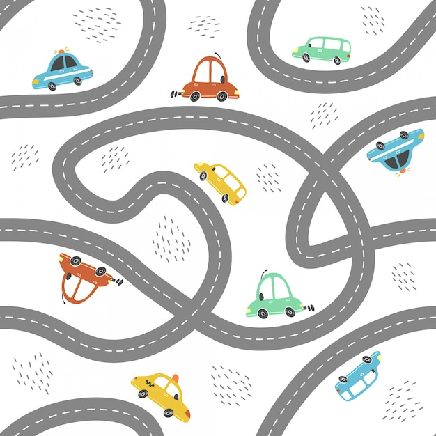 Seamless pattern of cartoon style baby cars.  illustration. Premium Vector
