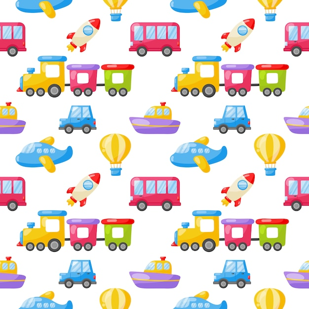 Seamless pattern cartoon transport toys. cars, boat, helicopter, rocket, balloon and plane. kawaii style isolated on white background. Premium Vector