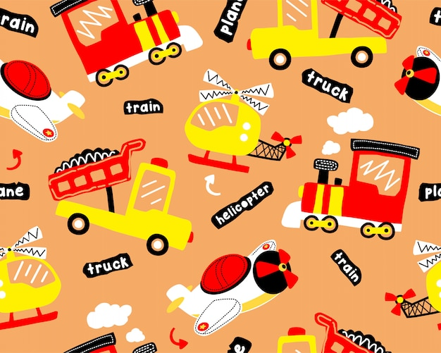 Seamless pattern cartoon with transportation vehicles Premium Vector