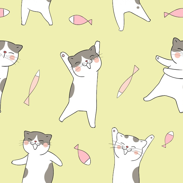 Seamless pattern cat with fish on yellow. Premium Vector
