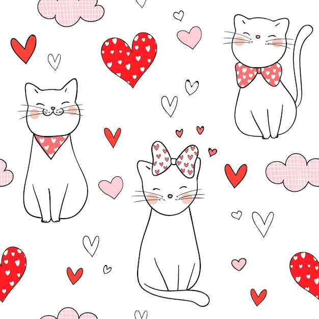 Seamless pattern cat with little heart for valentine. Premium Vector