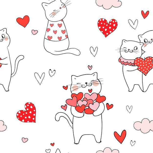 Seamless pattern cat with red heart for valentine day Premium Vector