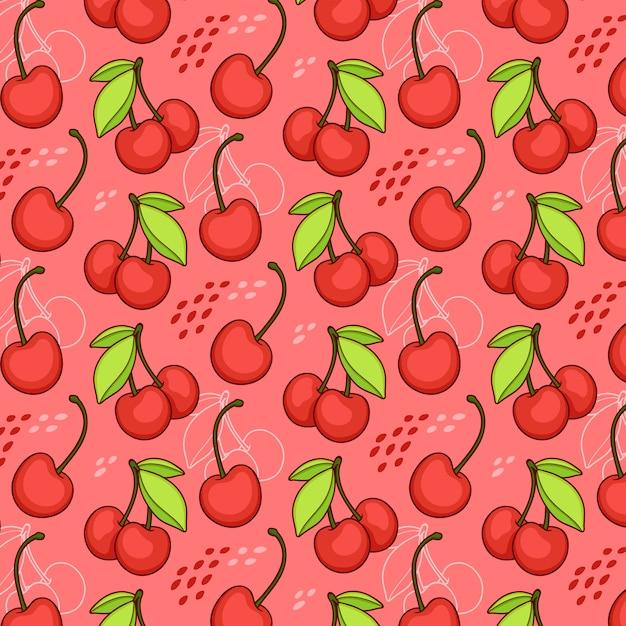 Seamless pattern di ciliegie Vettore gratuito
