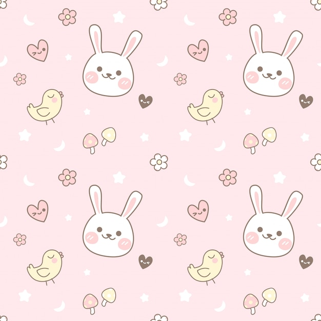 Seamless pattern chick and rabbit Premium Vector