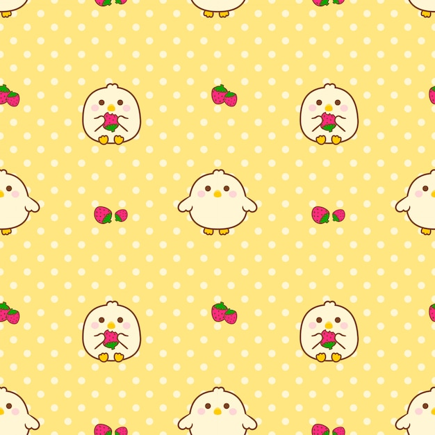 Seamless pattern chick and strawberry Premium Vector