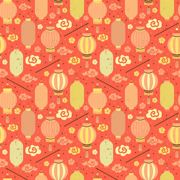 Seamless pattern chinese paper lanterns. Premium Vector