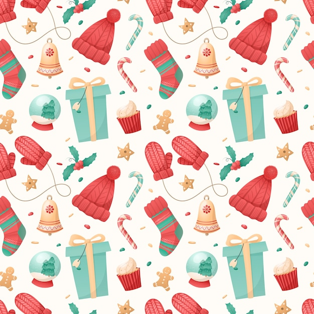 Seamless pattern of christmas isolated icons on a white background. Premium Vector