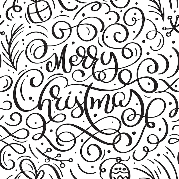 Seamless pattern for christmas with flourish  xmas elements of calligraphy Premium Vector
