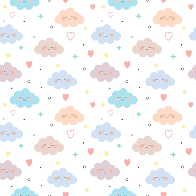 The seamless pattern of cloud and heart and star on the white background. Premium Vector