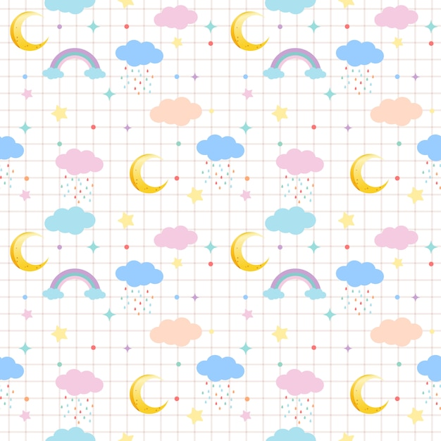 The seamless pattern of cloud and moon and rainbow and star in pastel theme Premium Vector