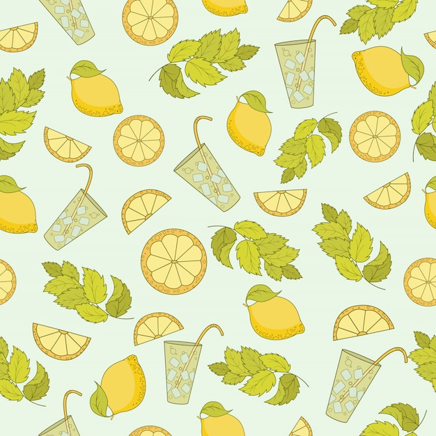 Seamless pattern of cold cocktail with lemon and mint leaves Premium Vector