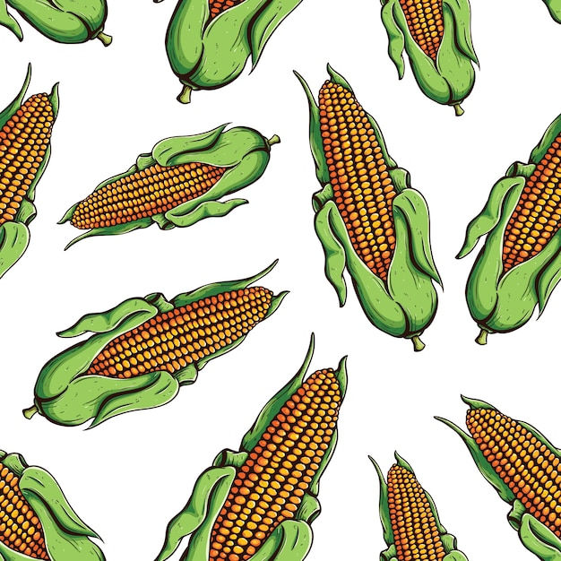 Seamless pattern of colored ripe corn on the cob with doodle or hand drawn style Premium Vector