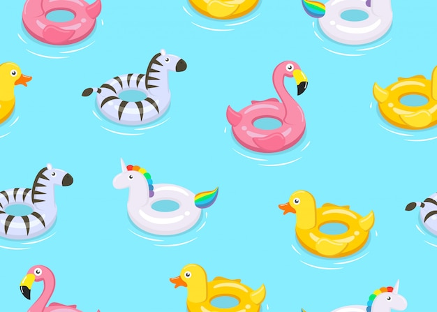 Seamless pattern of colorful animals floats cute kids toys Premium Vector