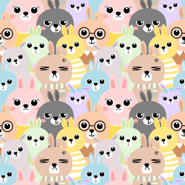 Seamless pattern colorful rabbit Premium Vector