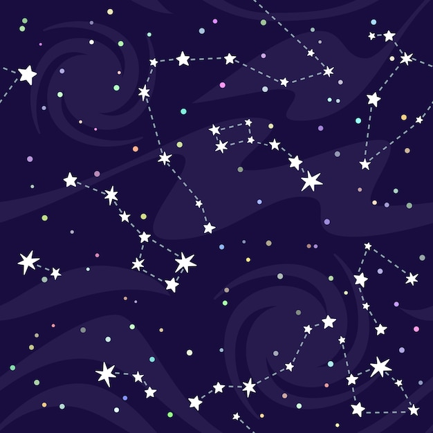 Seamless pattern of constellations on black background. Premium Vector