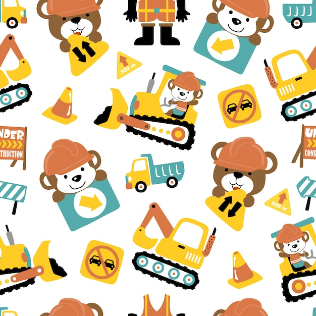 Seamless pattern of construction vehicle cartoon with funny animals Premium Vector