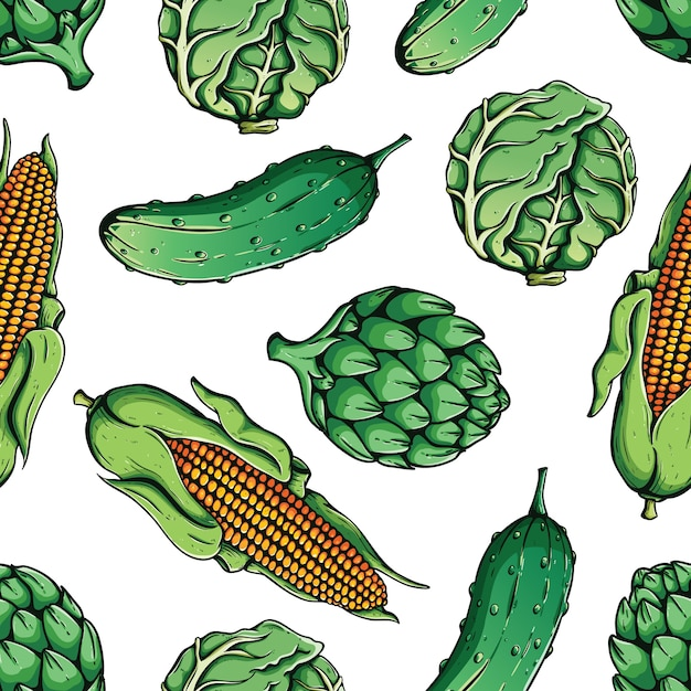 Seamless pattern of corn, cabbage, artichoke and cucumber with colored hand drawn style Premium Vector