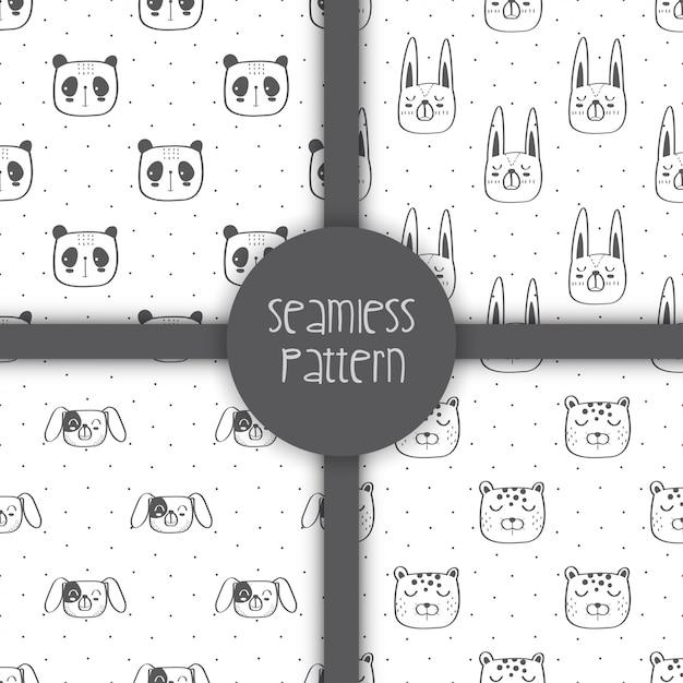 Seamless pattern of cute animals Premium Vector
