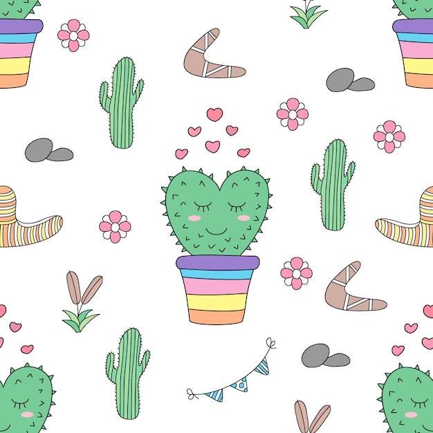 Seamless pattern cute cactus cartoon hand drawn style. Premium Vector