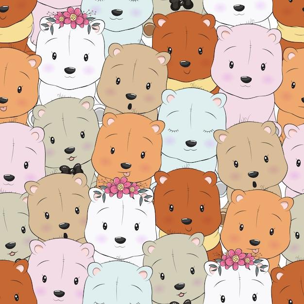 Seamless pattern cute cartoon bear Premium Vector