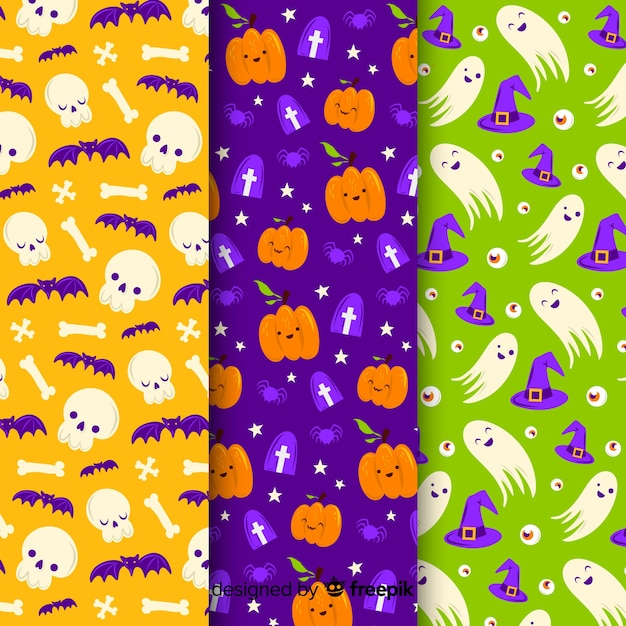 Seamless pattern of cute cartoon ghosts and pumpkins Free Vector