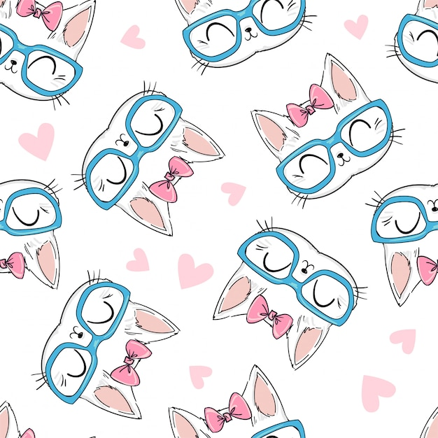 Seamless pattern cute cat with glasses and bow sketch illustration, print design cat, children print on t-shirt. Premium Vector