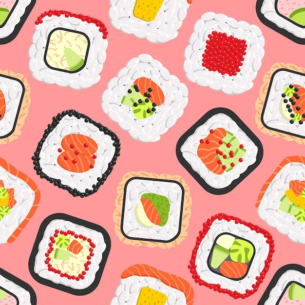 Seamless pattern of cute colored sushi rolls Premium Vector