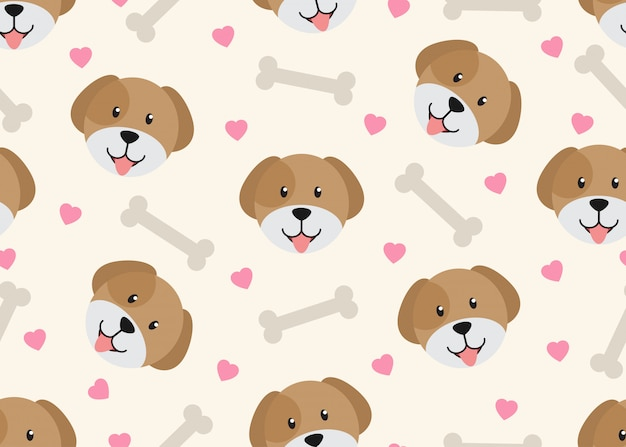 Seamless pattern of cute face dog with dog bone Premium Vector
