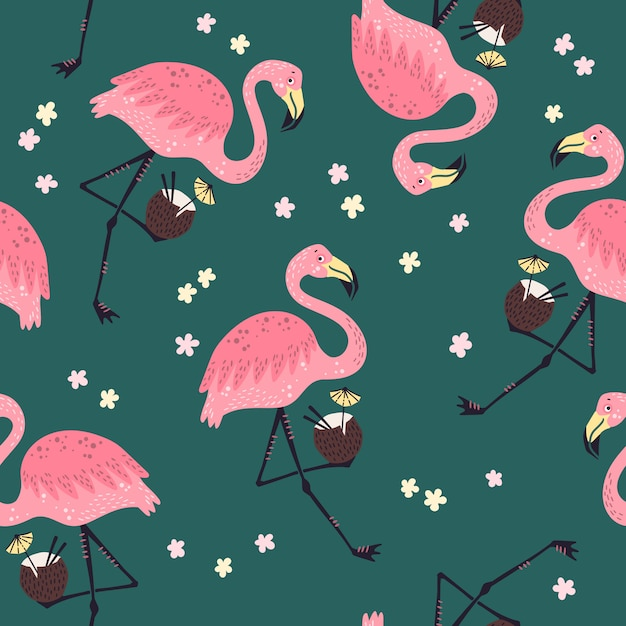Seamless pattern. cute flamingo with flowers. Premium Vector