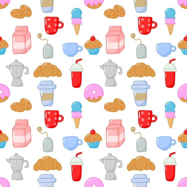 Seamless pattern cute funny breakfast food and drinks kawaii style Premium Vector