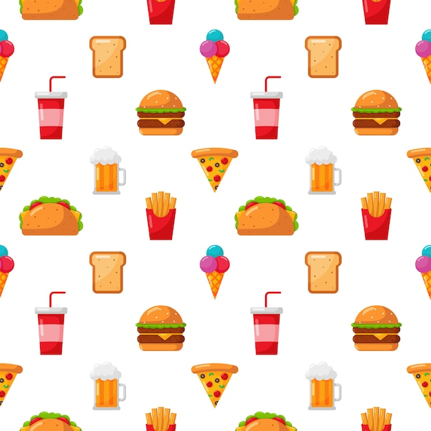 Seamless pattern cute funny fast food kawaii style icon isolated on white Premium Vector
