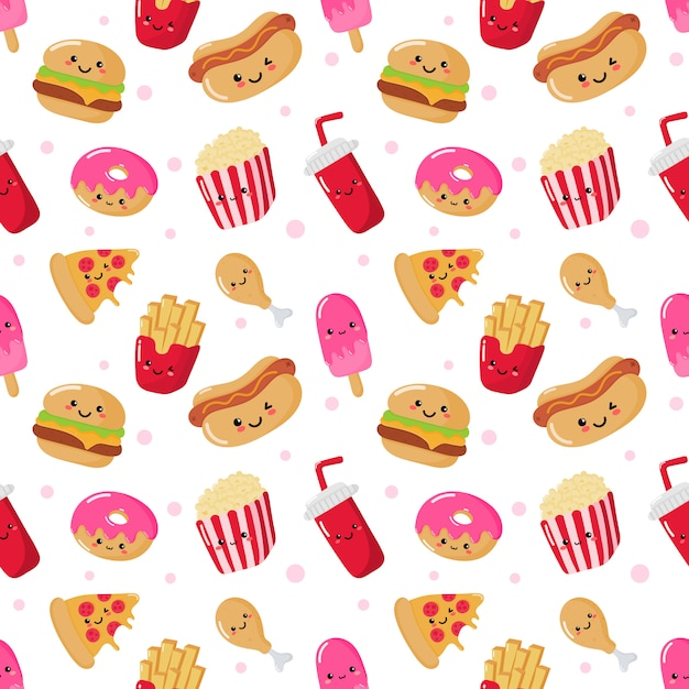 Seamless pattern cute funny fast food kawaii style Premium Vector