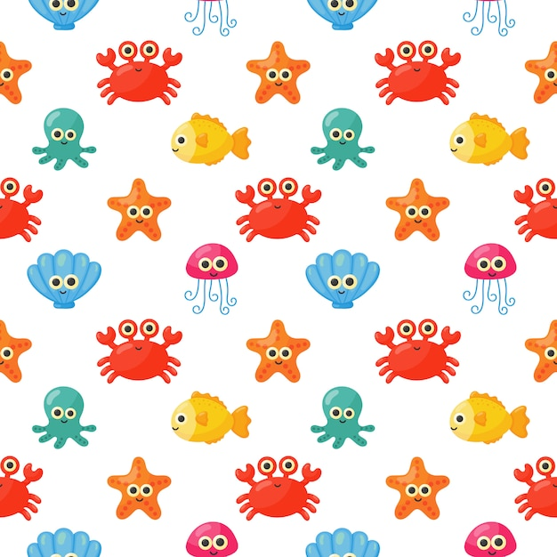Seamless pattern cute funny sea and ocean animals cartoon isolated Premium Vector
